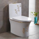 2018 new model one piece toilet bowl with new golden decal