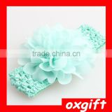 OXGIFT wholesale cute candy colors chiffon flower baby elastic hair accessories headbands