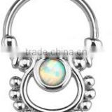 Circle opal 316L surgical steel septum clicker nose piercing Body Jewelry