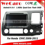 "Wecaro android 4.4.4 car dvd touch screen 8"" for honda civic dashboard BT gps 3g TV right hand drive 2006 - 2011"