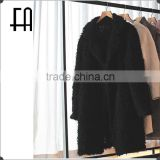 Factory price wholesale fashion lady's solid color black lamb knitted fur overcoat /long lamb fur knitted coat
