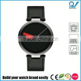 Excellent design wristwatch in 18/10 stainless steel mat with leather strap black men brand watch