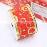 gold edge 2 inch 3inch large size christmas tree wired ribbon for chair bow christmas decorative craft