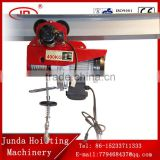 double hook/ single hook 6M/ 12M electric wire rope hoist CE GS approved 220V PA 800KG mini wire rope electric hoist