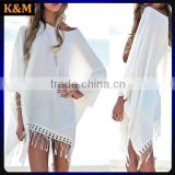 Spring fashion Chiffon dress White Fringe Crochet Beach Cover Up Swimsuit dress Beach Dress