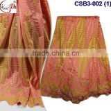 CSB3-002 Wholesale price 100% cotton swiss embroidery lace fabric,swiss viole lace for ladies