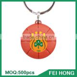Wholesale bulk metal two sided basketball personalized key ring