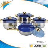 8PCS stainless steel cookware set outside mirror polish inside with marble coated