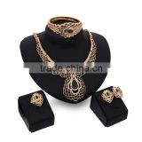 Luxury Green Stone Jewelry Set Peacock Gold Jewlery Set For Wedding Bride