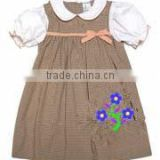 Customized girls baby blue dress smocked white collar pink bow Factory Price Girls Dress