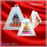 hot sells wholesale 3 tier paper &plastic Macaron pyramid tower display stand &patented customizable Macaron packaging