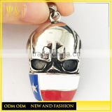 Jingli jewelry Custom color casting texas flag skull biker pendants necklaces, stainless steel texas flag pendants(HS-106)