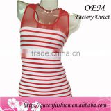 New Design Women Fashion Tops Casual Striped Camisoles Sexy Ladies Seamless Vest with Mesh Vestidos de noiva