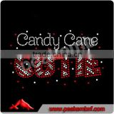 Candy Cane Cutie Bling Christmas Rhinestone Iron On Transfers Heat Press Appliques Wholesale