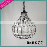 Oval Shape Crystal Hanging Ball Lamp Decorative With Black Metal Wire For Room Decoration