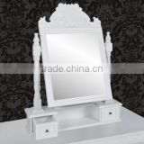 White Color Women Makeup Dresser Drawer Wooden Rotating Mirror With Two Drawers