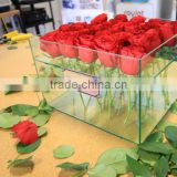 Wholesale Acrylic 25 flower packaging box clear rose flower box for gift