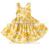 2017 Summer beach style sleeveless princess flowers printed kids party wear dresses for girls