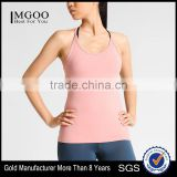 MGOO Breathable Low Cut Ladies Singlet Spandex And Polyester Blended Dri Fit Sport Muscle Tank Top