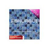Cracked blue crystal glass swimming pool border mosaic tile