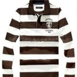 New 100% Cotton Men Long Sleeve Stripe Print Polo-shirt