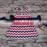 Children girls chevron print brace tutu dress blue and red skirt 4th of july outfits newborn wholesale clothes store cheap skirt