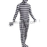 Full Body Lycra Spandex Zentai Costume Black White Check Catsuit Grid Size S M L XXL