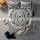Indian Latest Ombre Mandala Duvet Doona Cover With Bed Sheet & Pillows Black & Multi-Color Queen Size 4 PC Set