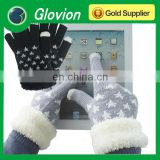 Beautiful touch screen gloves with heart shape fashion Knitting touch gloves for smart phone