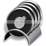 zinc alloy metal base coaster metal embossed logo center coaster leather around the coaster