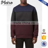 Stylish Wholesale Contrasting Color Mens Crewneck Neoprene Sweatshirts                                                                         Quality Choice