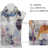unique brand design scarf splashed ink big flower printed long scarf for gentlewomen daily wear