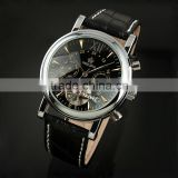 Men's Black Tourbillon Leather Band Automatic Wrist Watch