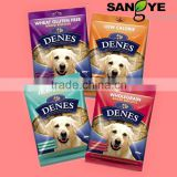 Matte plastic zipper bag/pouch for pet food packaging (dog/cat/bird/fish), side gusset bag, stand up bag, manufacturer