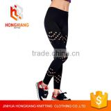 Hongxiang Women sports fitness yoga pants,High Waist yoga Leggings,black side cut hole gym leggings tight pant
