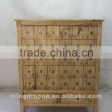 Chinese antique furniture pine wood shanxi medicine cabinet style two door two drawer cabinet