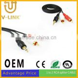 2 cores 3.5mm male aux audio plug jack to usb 2.0 female usb cable audio cable for car aux stereo cable