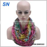2014 fashion bright color animal print infinity scarf