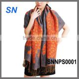 2014 fashion print pattern peacock pashmina scarf