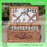 Liuqing Wholesale made in china pure handmade with mini cooler bag wicker picnic baskets with fabric