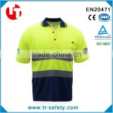 EN471/ANSI bird eye mesh fabric summer fluorescent t-shirts with short sleeve