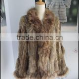 Ladies Elegent winter warm fur real knitted rabbit fur coat and jacket with collar for woman made in China