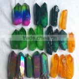 Wholesale Aqua Aura Quartz Crystal Point Titanium Coating Crystal Cluster