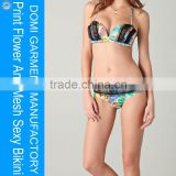 Domi charming with lace mesh and flower printed sexy bikini beautiful sexy girls lace swimwear womens bandeau swimwear