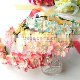 Cute Flower Pearl in center Head Garland Wedding Bridal Head wreath with Ribbon