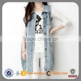 fashion cheap cotton sleeveless tops slimming denim vest wholesale