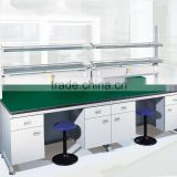 chemical resistant laboratory furniture type lab metal center bench with reagent shelf and lab height adjustable stools