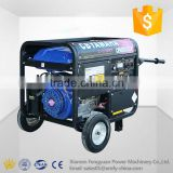 Single phase three phase 50hz 4 stroke 8kw 10kva portable wheeled gasoline generator supporting electrical or hand start