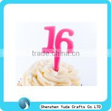 laser cut acrylic number cake topper,colored birthday number cupcake topper,low price