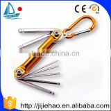 7pc ball end folding hex key with ring. allen wrench set